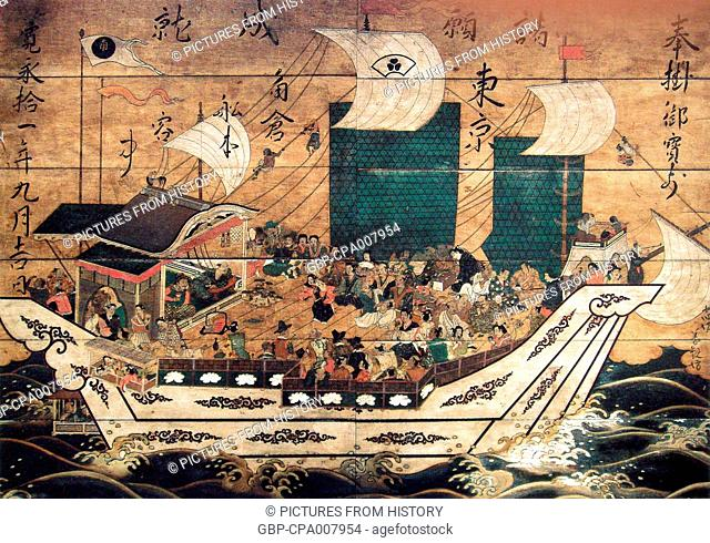Japan: Suminokura red seal ship with foreigners. A wood plaque painting from Kiyomizu-dera Temple, Kyoto (c. 1633)