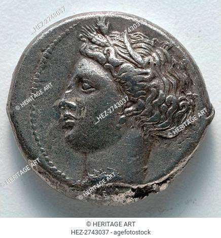 Tetradrachm: Persephone (obverse), 380 BC. Creator: Unknown
