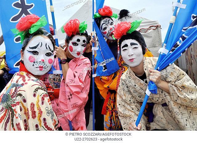 Naha, Okinawa, Japan: performers at the Haarii (Dragon Boat Festival), May