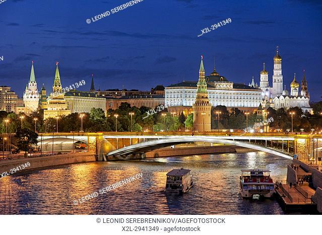 Moscow Kremlin illuminated at dusk. Moscow, Russia
