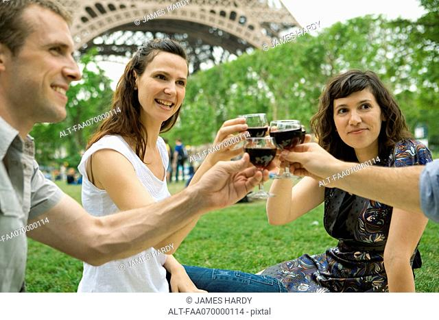 Friends clinking wine glasses outdoors