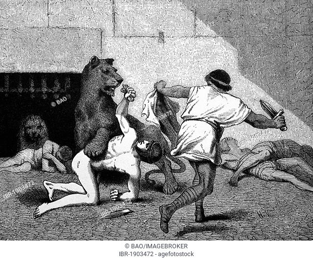 Dyrene, struggle of the slaves, historical woodcut, circa 1880