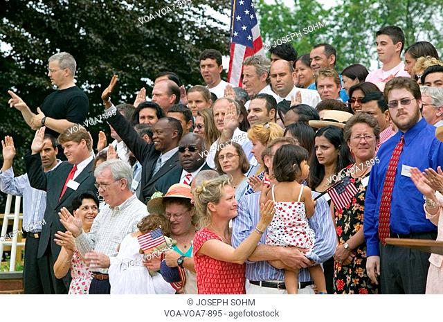 76 new American citizens taking oath of citizenship at Independence Day Naturalization Ceremony on July 4, 2005 at Thomas Jefferson's home, Monticello