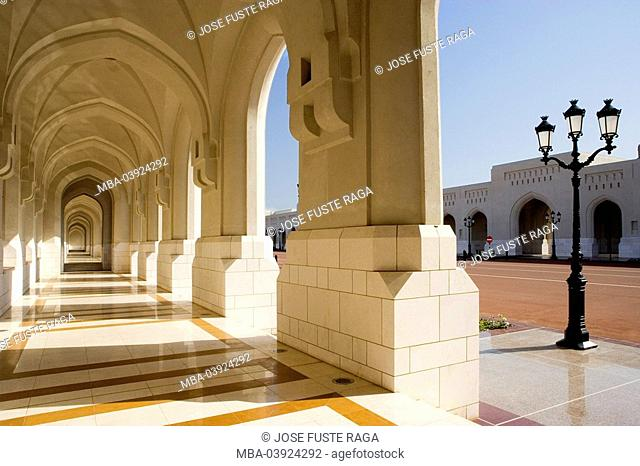 Oman, Muscat, Al Alam Palace, arcade, detail, sultanate, government-palace, sovereign-palace, palace, arcades, round-bows, construction, architecture, sight