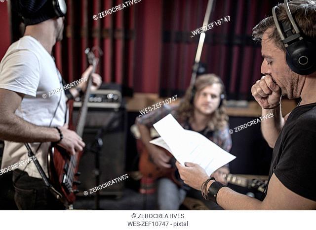 Band rehearsal in recording studio