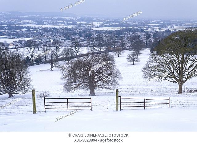 Morning view from Old Hill over the village of Wrington after overnight snowfall, North Somerset, England