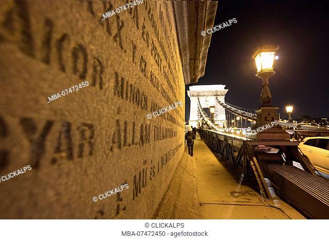 Pedestrian lane, Chain Bridge, Budapest, Hungary