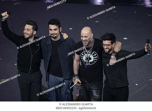 Italian singers Il Volo (Piero Barone, Ignazio Boschetto and Gianluca Ginoble) and Italian actor and dubber Alessandro Quarta during the fourth evening of the...