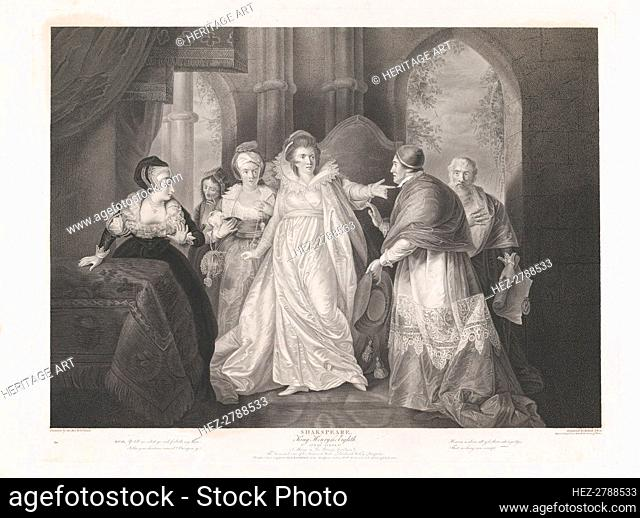 Queen Catherine, Cardinal Wolsey and Cardinal Campeius (Sha.., first published 1796; reissued 1852. Creator: Robert Thew