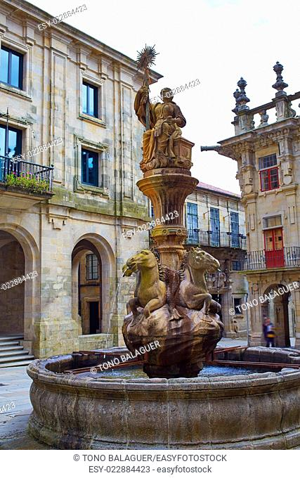 Santiago de Compostela Praza Prateria end of Saint James Way in Galicia Spain