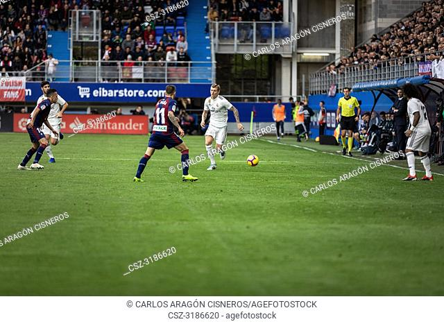 Toni Kroos, Real Madrid player, in action during the La Liga match between Eibar and Real Madrid CF at Ipurua Stadium on November 24, 2018 in Eibar, Spain