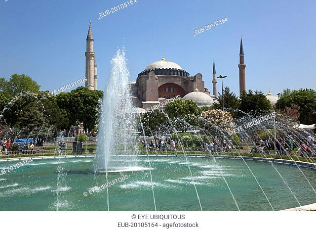Sultanahmet Ayasofya Muzesi Hagia Sofia Museum with fountain in the foreground