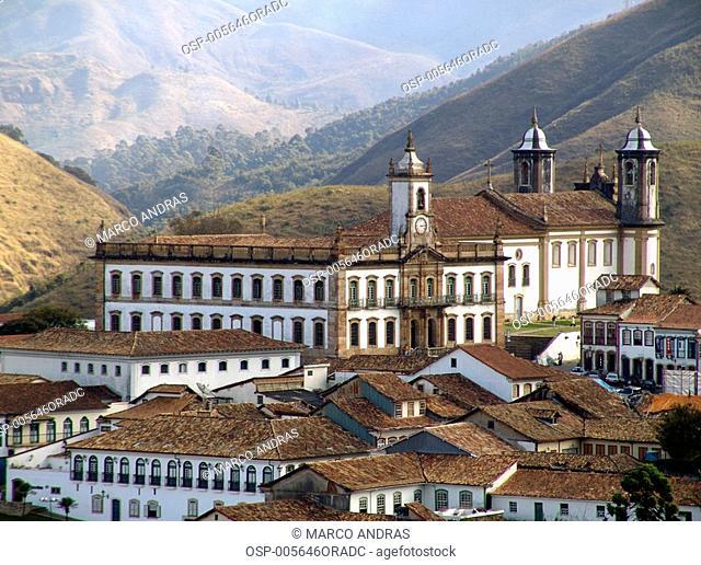 aerial view of ouro preto historical city at minas gerais