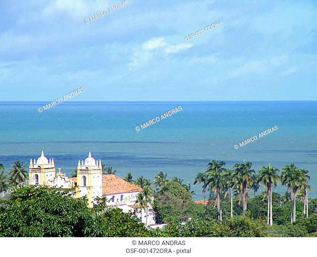 pernambuco view of the sea and church from a hill