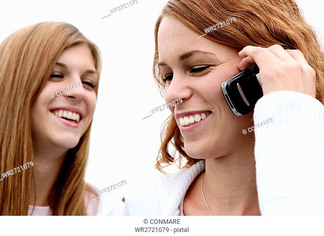 teenagers, happy, phoning, smiling, free, portrait