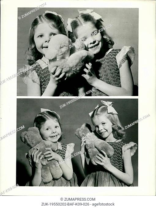 Feb. 02, 1955 - Twins Play Musical Bears - and Ducks: Music boxes in the form of cuddly animals are among toys being shown at this year's British Industries...