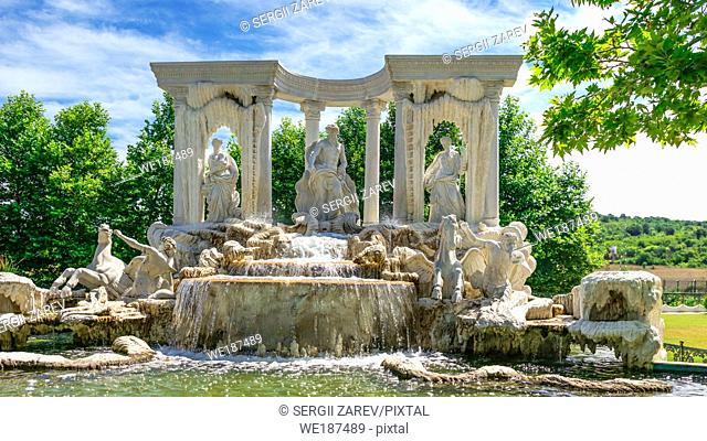"Ravadinovo, Bulgaria â. "" 07. 11. 2019. Large antique fountain in the form of a sculptural composition in the castle of Ravadinovo, Bulgaria"
