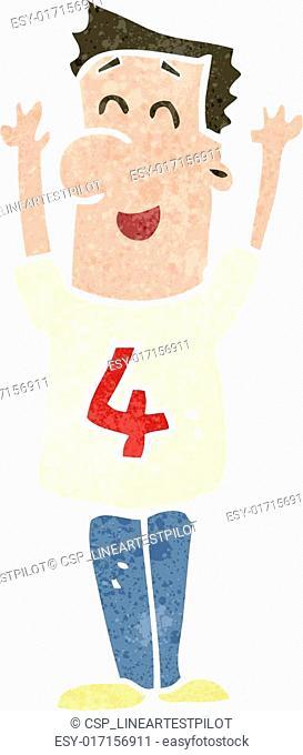 retro cartoon man wearing shirt number four