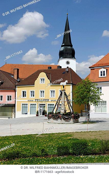 Market square, Simbach near Landau, Lower Bavaria, Bavaria, Germany, Europe