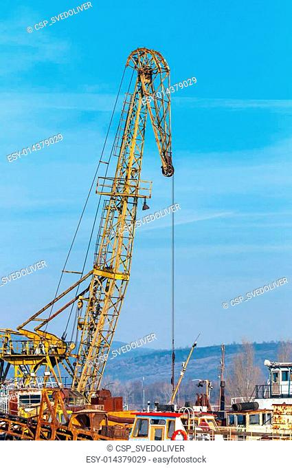 Industrial crane in the shipyard