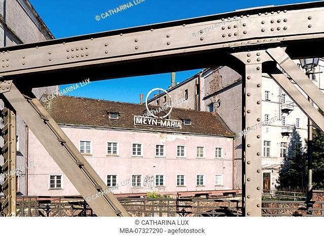 Poland, Wroclaw, Oder bridge, Most Mlynski, Maria Mill