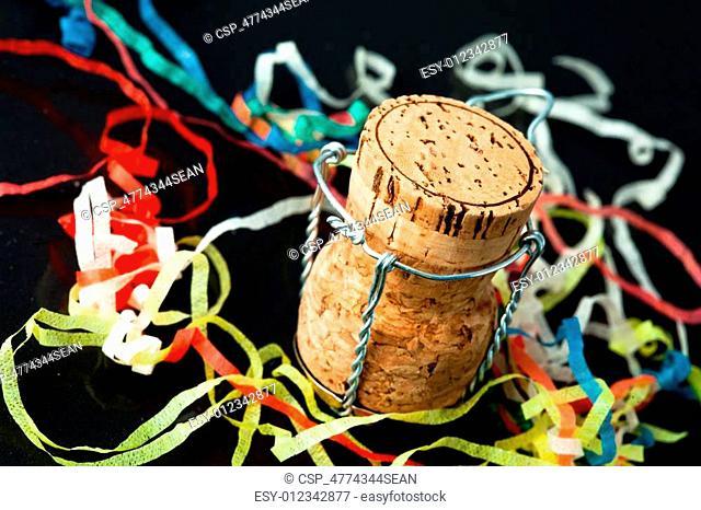Cork in the middle of confetti