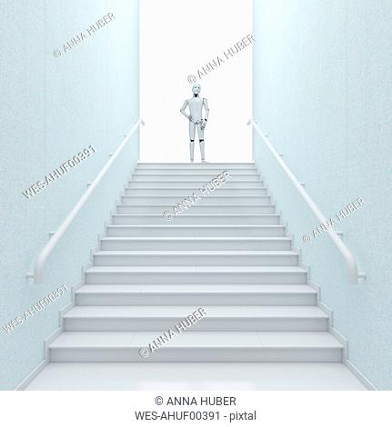 Robot standing on top of stairs, 3d rendering