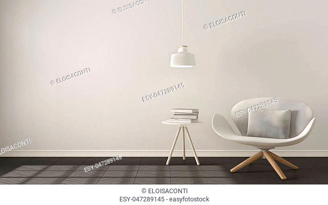 Scandinavian minimalistic background, white armchair with table and pendant lamp on herringbone natural parquet flooring, interior design