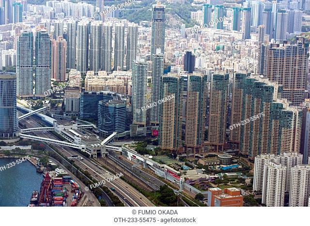 Bird's eye sweep of Tai Kok Tsui area from Sky100, 393 metres above sea level, Hong Kong