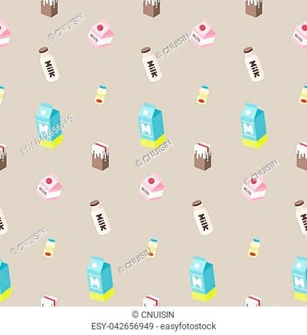 milk bottle juice yogurt vector Seamless pattern isolated wallpaper background brown