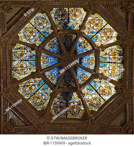 Stained-glass window in the entrance Hall, Hospital de la Santa Creu i Sant Pau, architect Luis Doménech y Montaner, Unesco World Heritage Site