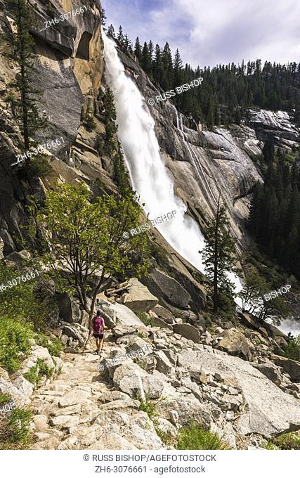 Hiker on the Nevada Fall trail, Yosemite National Park, California USA