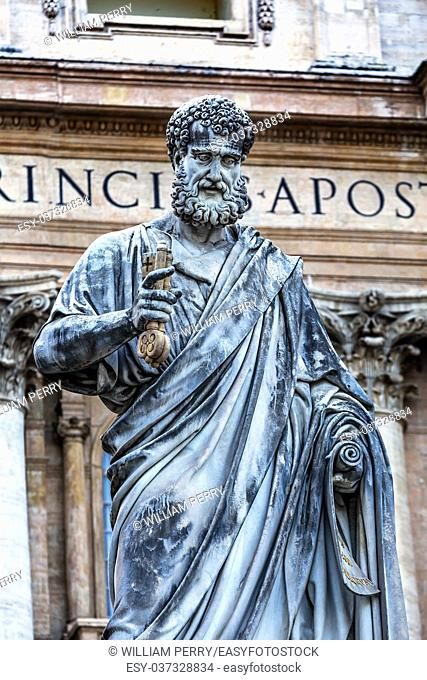 Saint Peter Keys Statue's Basilica Vatican Rome Italy. Statue commissioned in 1847 by Giuseppe De Fabris