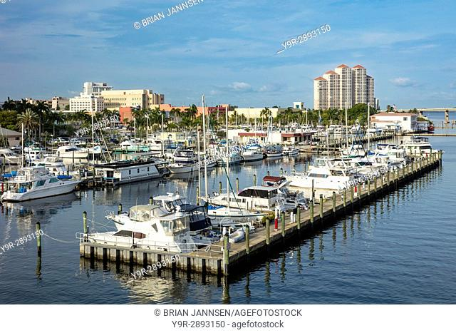 Early morning over the Fort Myers Yacht Basin Marina and buildings of Fort Myers, Florida, USA