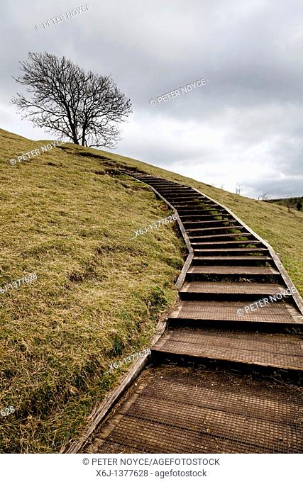 wooden steps giving easy access to the top od St Catherines Hill Winchester UK