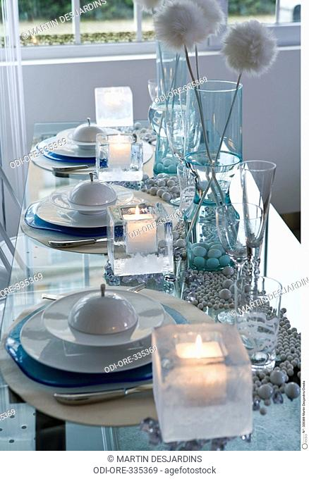 White dressed table