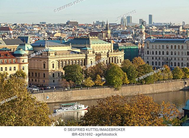 iew from the Letna hill on the Rudolfinum with historic centre, Prague, Czech Republic