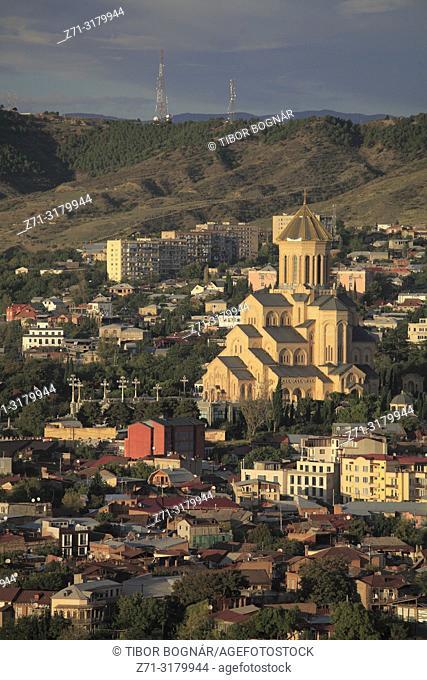 Georgia, Tbilisi, skyline, Holy Trinity Cathedral, aerial view,