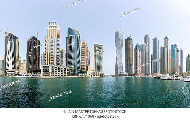 Skyline of high-rise apartment towers at Dubai Marina in Dubai United Arab Emirates