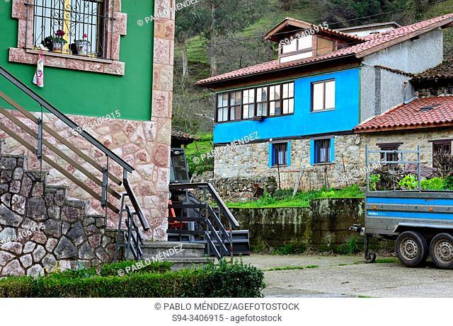 Colouring houses of Proaza, Asturias, Spain