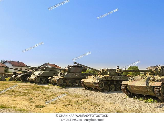 Various tanks on display at The Museum of Army Collections from the Croatian Homeland War