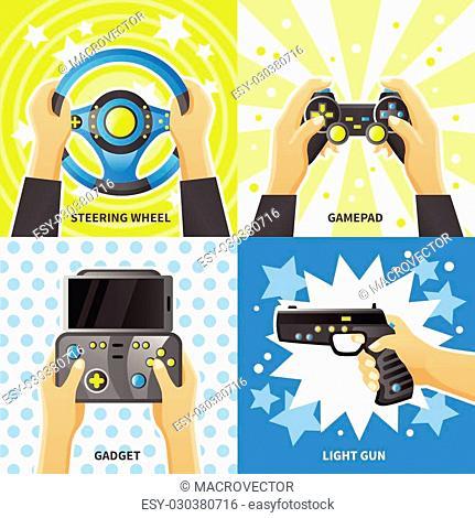 Game gadget 2x2 design concept with people hands holding steering, wheel light gun gamepad flat vector illustration