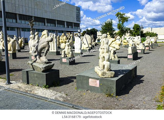 Moscow Russian Moskva city National capital of Russia Sculptures and statues of Lenin Stalin and others at the sculpture park also known as the graveyard of...