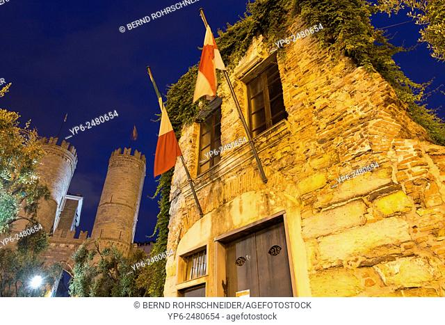 birthplace of Christopher Columbus and Porta Soprana at night, Genoa, Liguria, Italy