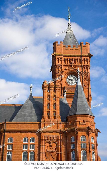 The clock Baby Big Ben. Big Ben of Wales, on The Pierhead Building. Cardiff Bay. Cardiff. Caerdydd. South Glamorgan. Wales. UK