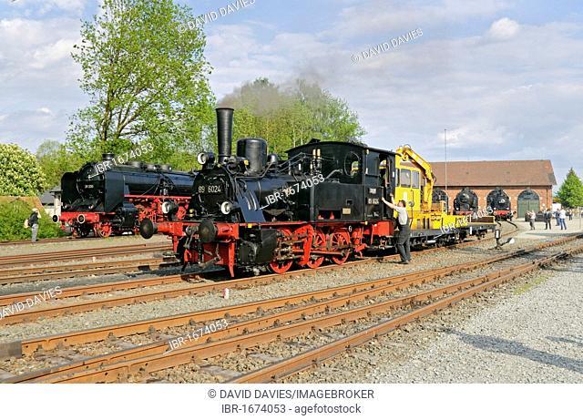 Steam locomotives at the German steam locomotive museum, Neuenmarkt, Franconia, Bavaria, Germany, Europe