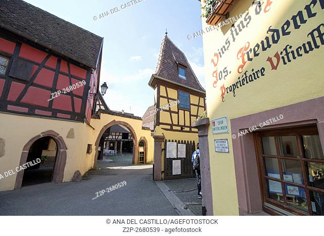 Eguisheim village, traditional colorful houses in Alsace, France. Winery facade