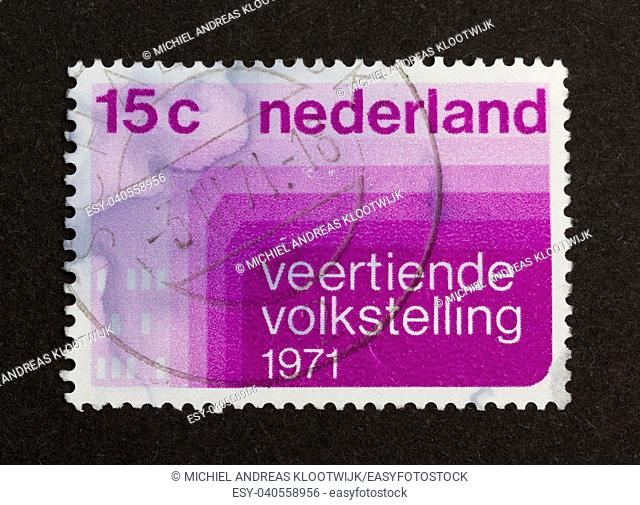 HOLLAND - CIRCA 1970: Stamp printed in the Netherlands shows the fouteenth population census, circa 1970