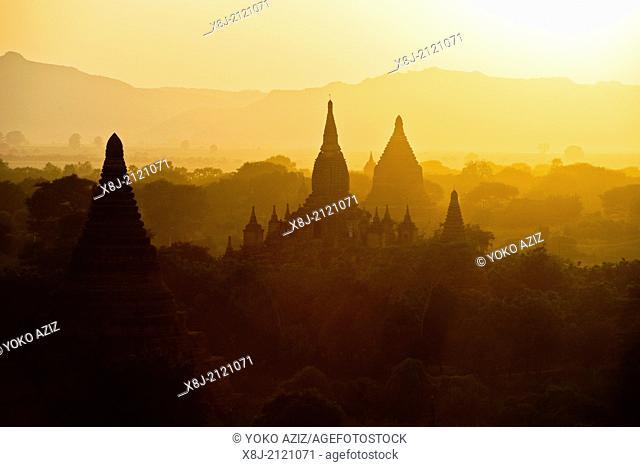 Myanmar, Bagan, Old Bagan, landscape, sunset