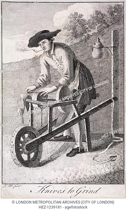 'Knives to Grind', c1750. A knife grinder at work, with his grindstones on a barrow improvised to transport them. From Cries of London, c1750